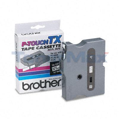 BROTHER TX TAPE CTG FOR PT-8000 BLACK/WHITE 3/8IN X 50